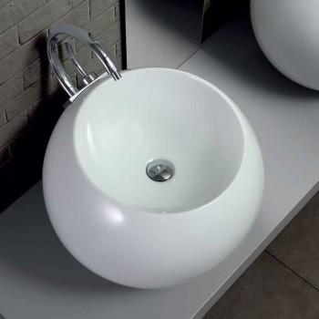 Umywalka nablatowa w kształcie kuli w kolorowej płytce ceramicznej