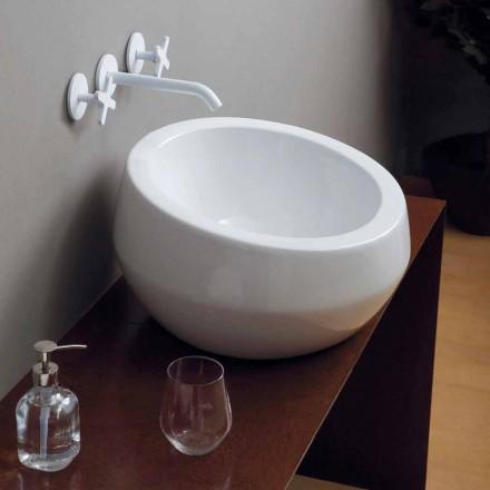 Umywalka nablatowa okrągła design z ceramiki Elisa made in Italy