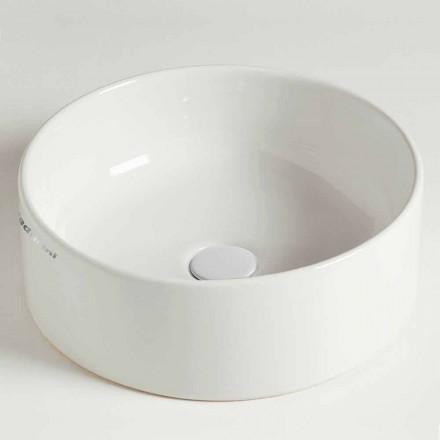 Nowoczesna okrągła umywalka nablatowa z ceramiki Made in Italy - Rotolino