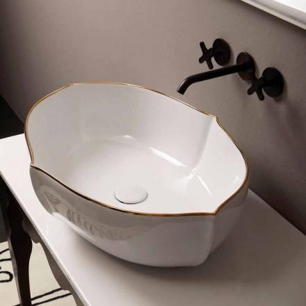 Nablatowa umywalka biala ceramika z złotą krawędzią model Oscar,design