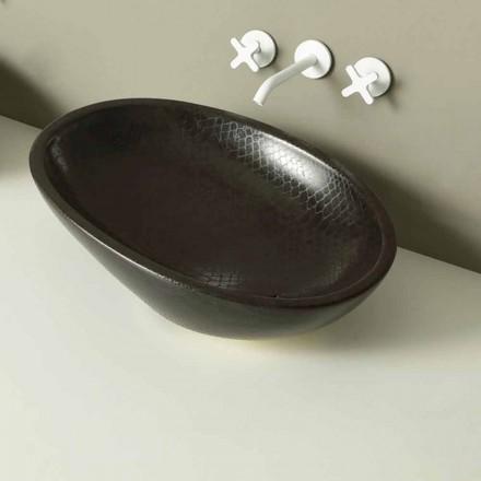 Umywalka ceramiczna czarna z węża nablatowa Glossy made in Italy