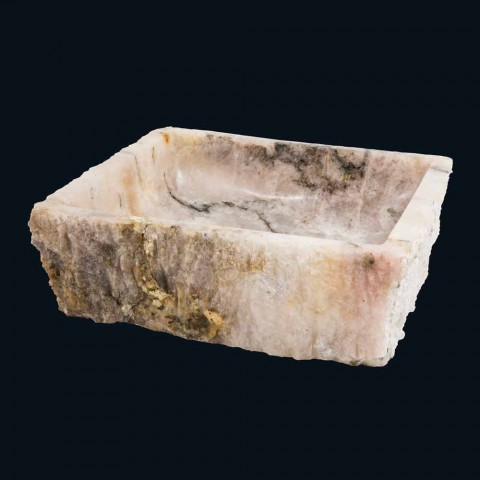 Umywalka kamień kwarc dymny wsparcie projektowe Rose, jeden kawałek