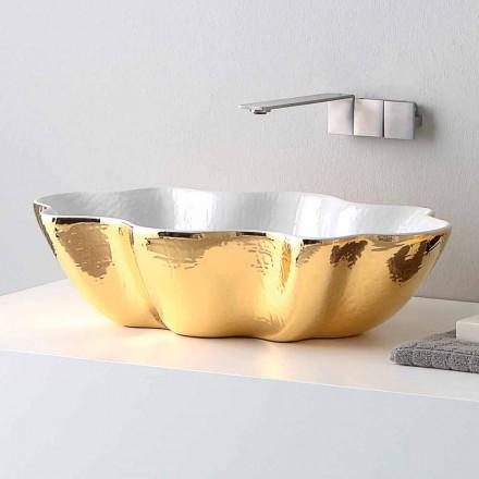 Umywalka nablatowa ceramiczna design model Cubo made in Italy