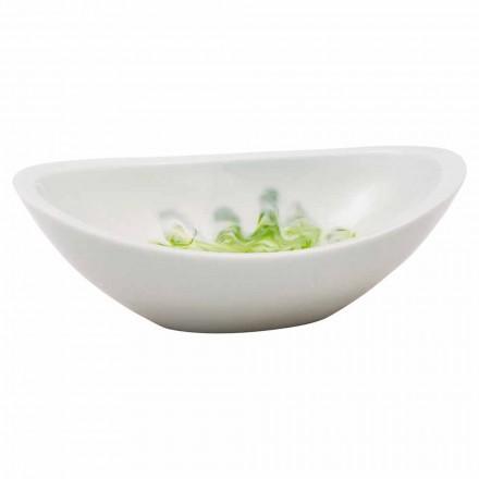 Umywalka nablatowa wykonana ręcznie z białej żywicy, Buronzo