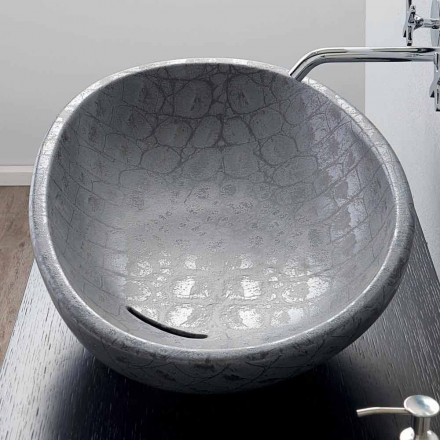 Umywalka nablatowa szara z ceramiki made in Italy model Glossy