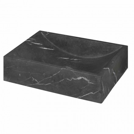 Umywalka z kwadratowym czarnym marmurem Marquinia Made in Italy - Bernini