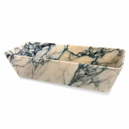 Umywalka nablatowa w marmurze w kształcie kwadratu Paonazzo Made in Italy - Karpa