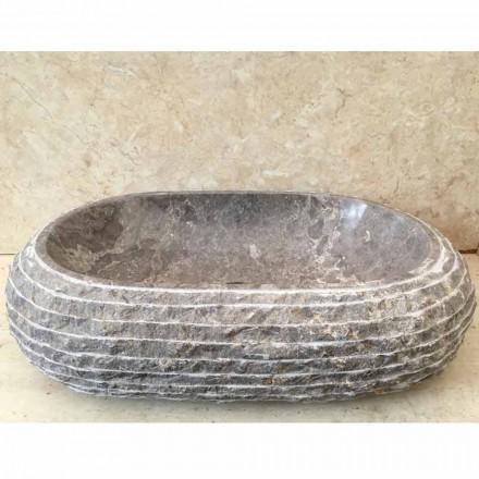 Umywalka w łazience w odcieniu szarości z kamienia, unikatowy wzór