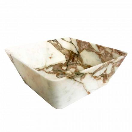 Nowoczesna umywalka nablatowa z marmuru Calacatta Made in Italy Design - Kuore