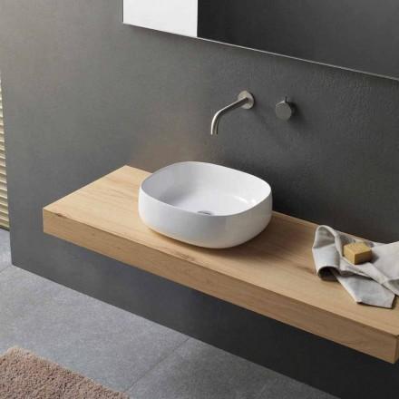 Umywalka nablatowa w białej ceramicznej nowoczesnej owalnej konstrukcji - Tune3