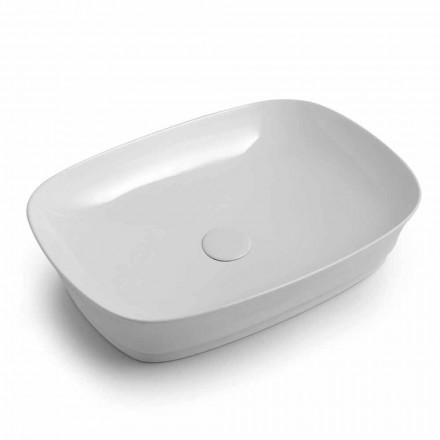 Prostokątna umywalka ceramiczna nablatowa Made in Italy - Zarro