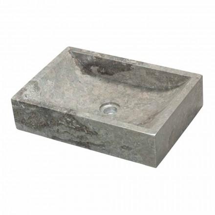 Umywalka kwadratowy kamień naturalny szary Dżakarta