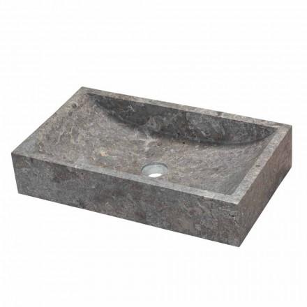 Umywalka prostokątna kamień naturalny szary Satun