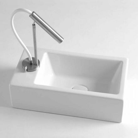 Prostokątna umywalka nablatowa L 44 cm w ceramice Made in Italy - Federica