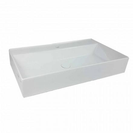Prostokątna umywalka nablatowa L 80 cm w ceramice Wyprodukowano we Włoszech - Piacione