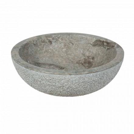 Umywalka z kamienia naturalnego szary zewnątrz okrągły Surowiec Pai