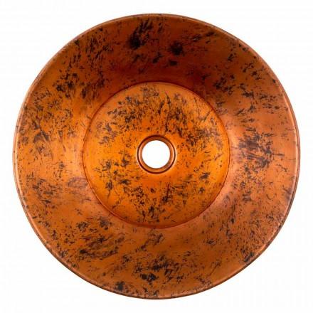 Okrągła ręcznie wykonana umywalka nablatowa z miedzi, Palosco