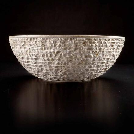 Okrągła umywalka nablatowa wykonana ręcznie z białego marmuru - len