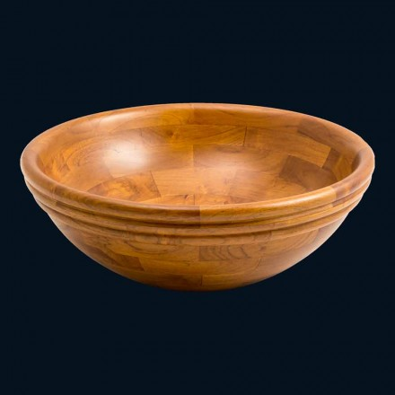 Umywalka nablatowa okrągła z drewna tekowego Kobe, unikatowa