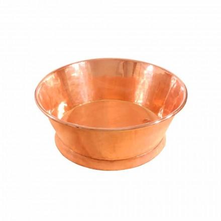 Umywalka nablatowa okrągła z miedzi, wykonana ręcznie, Ania