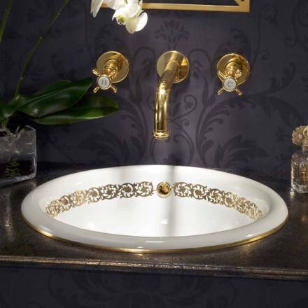 Wbudowana umywalka w łazience z gliny ogniowej i 24-karatowego złota wykonana we Włoszech, Otis