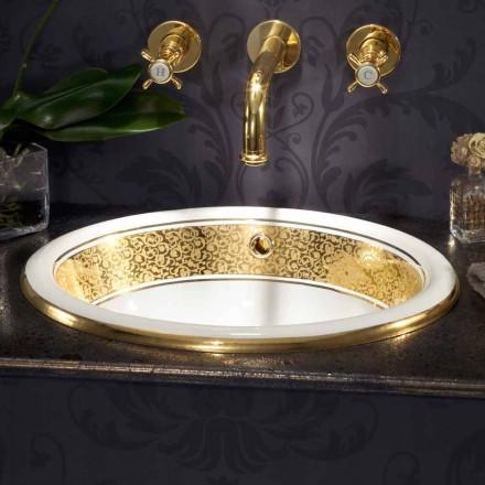 Okrągła, wbudowana umywalka z gliny ognistej i 24-karatowego złota wykonana we Włoszech, Otis