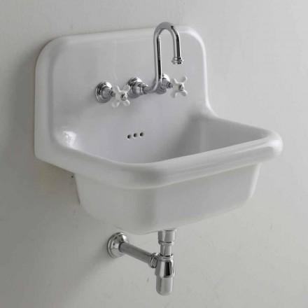 Umywalka ścienna prostokątna z białej ceramiki Davis