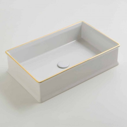 Umywalka design nablatowa z złotymi brzegami ceramiczna Debora