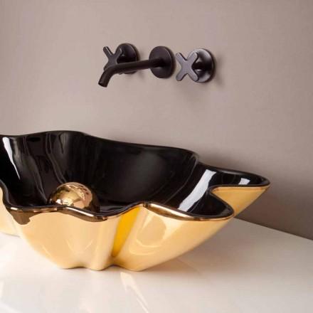 Umywalka ceramiczna czarno złota design made in Italy Rayan