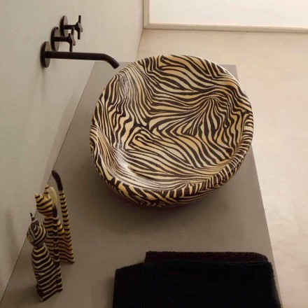 Umywalka design nablatowa z ceramiki zebra made in Italy Glossy