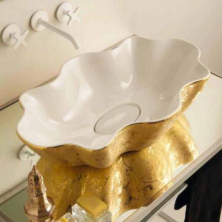 Umywalka design ceramiczna nablatowa biel i złoto model Cubo