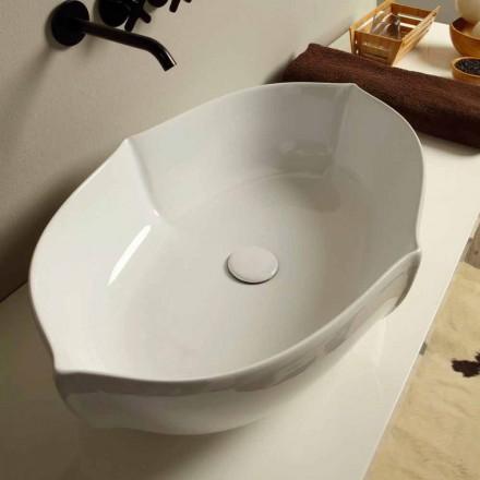 Umywalka nablatowa design z białej ceramiki made in Italy Oscar