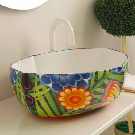 Umywalka ceramiczna nablatowa design model Oscar, made in Italy