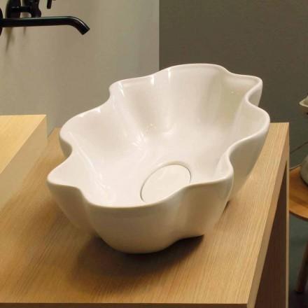 Umywalka design nablatowa Cubo, biala ceramiczna made in Italy