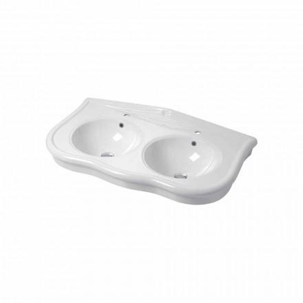 Nowoczesna podwójna umywalka naścienna lub ścienna ceramiczna Avise