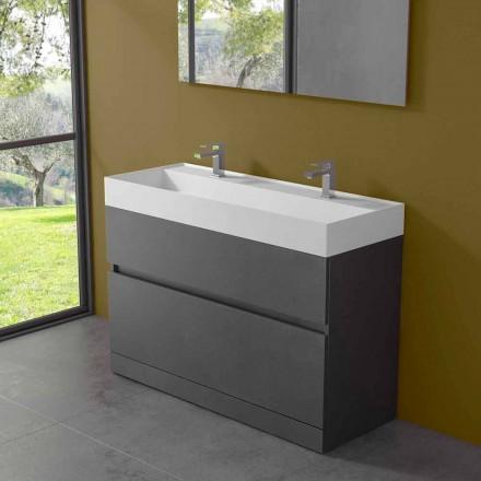 Podwójna umywalka z szafką podłogową Nowoczesny design z laminatu - Pompei