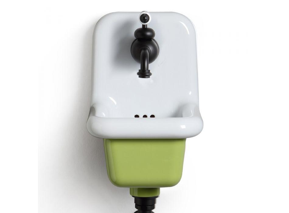 Wolnostojąca umywalka łazienkowa z białej i kolorowej ceramiki 26 cm - Jordan