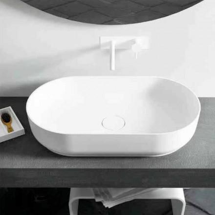 Nowoczesna, owalna umywalka nablatowa Dalmine Big, wyprodukowana we Włoszech