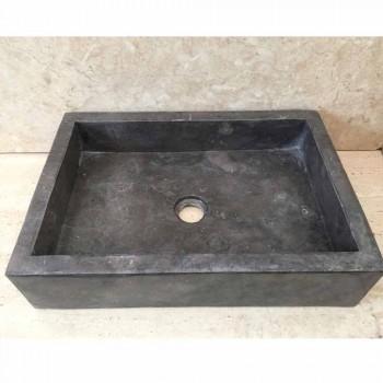 Ciemnoszara umywalka w tajskim naturalnym kamieniu, wykonana ręcznie