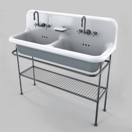 Umywalka ceramiczna podwójna nablatowa z metalową konstrukcją Calvin