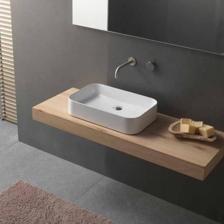 Umywalka ceramiczna nablatowa prostokątna o nowoczesnym designie - Tangulo