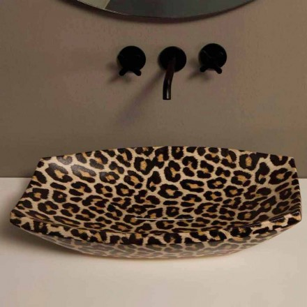 Umywalka ceramiczna cętkowana nablatowa design made in Italy Laura