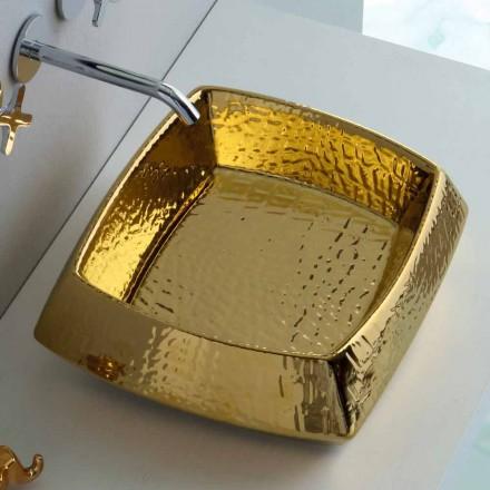 Umywalka ceramiczna złota design Simon nablatowa, made in Italy