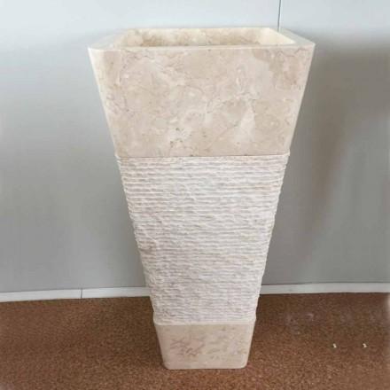 Umywalka z naturalnego kamienia, kolumna Robin, biała jednoczęściowa