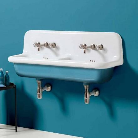 Umywalka podwójna ścienne z ceramiki model Jack