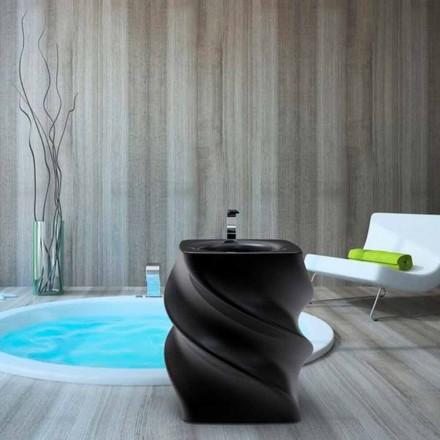 Umywalka czarna wolnostojąca design, Twist made in Italy