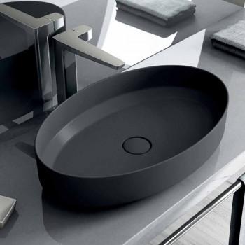 Owalna ceramiczna umywalka nablatowa wykonana we Włoszech, Yoel