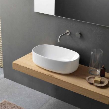 Umywalka nablatowa ceramiczna owalna biała - Ventori1