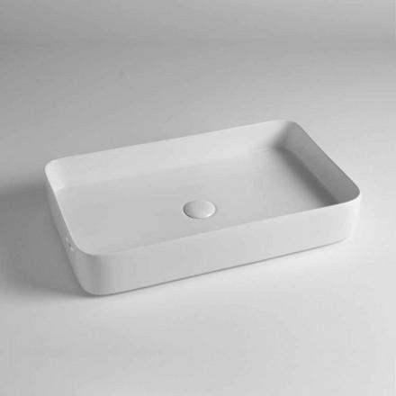 Prostokątna umywalka nablatowa z kolorowej ceramiki Made in Italy - Dable