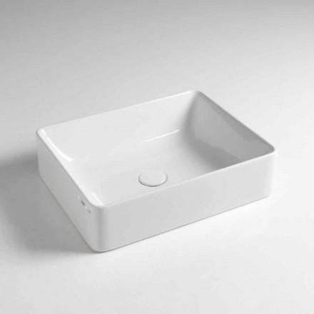 Prostokątna umywalka nablatowa L 50 cm w ceramice Wykonane we Włoszech - Rotolino